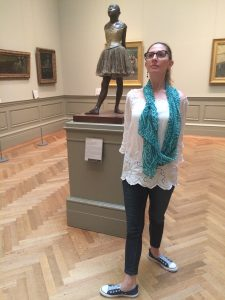 Philly Dance Fitness student Danielle Harrsch poses with a Degas sculpture.